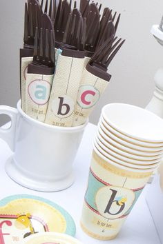 A is for Alphabet Party Theme paper products. Like, but might be overkill depending on other decor.