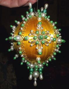 Vintage Christmas Ornament Gold Satin Ball Pearls Beads Gold Trim 1970's Handmade Decoration. $10.00, via Etsy.