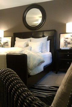 Nightstands. REFRESHED WITH WHITE modern bedroom love this bedroom
