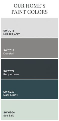 Paint Colors // Sherwin Williams Dovetail // Sherwin Williams Peppercorn // Sherwin Williams Dark Night // Sherwin Williams Sea Salt // Color Schemes // Home Color Ideas Repose Gray