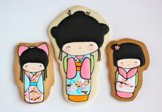kokeshi doll sugar cookies (idéia para bonecos ou almofadas)