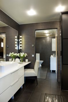 Stunning Modern Bathroom & Sink. It's like my bedroom - dark grey walls, white glossy furniture.