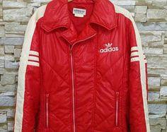 ADIDAS Vintage rojo bordado blanco con cremallera deporte esquí Cazadora  bombardero chaqueta Adidas Run Dmc Hip 9290150c91f