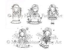 Set of 5 Cute Angels and LIttle Girls - Digital Stamps - Printable  - Molly Harrison Fantasy Art  - Instant Download