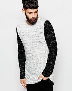 Lækre ASOS Longline Long Sleeve T-Shirt With 2 Tone Slub Jersey ASOS Langærmede T-Shirts til Herrer i behageligt materiale