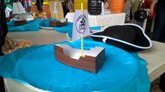 Dulcero o centro de mesa Barco hecho de bote de leche