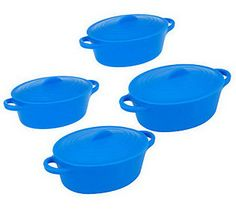 Set of 4 12 oz. Oval Silicone Pots By MarkCharles Misilli