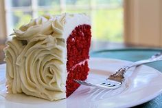 Red Velvet cake with rose cream cheese icing
