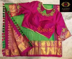 Stunning evergreen pink and parrot green color combination kanchipuram saree and pink color designer blouse with floret lata design hand embroidery work on neckline and sleeves. Wedding Saree Blouse Designs, Half Saree Designs, Pattu Saree Blouse Designs, Blouse Designs Silk, Designer Blouse Patterns, Mehndi Designs, Designer Dresses, Mirror Work Blouse Design, Maggam Work Designs
