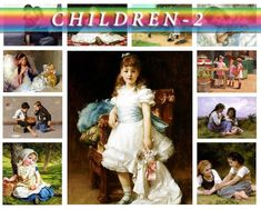 CHILDREN-2 Collection of 215 vintage paintings of kids High