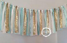Tiffany Blue, Aqua & Gold Sequin - Fabric Garland Banner - Sparkle Glitz  Window Valance , Wedding, Backdrop, Nursery Decor, fabric tassel