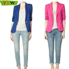 Find More Blazers Information about New Fashion 2015 Women Blazer Jacket Suit Casual Candy Coat Jacket Single Button Outerwear Woman Blaser Feminino Female,High Quality Blazers from Sexy Girl's Club on Aliexpress.com