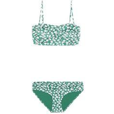 Ganni Lyme Floral-Printed Bikini ($125) ❤ liked on Polyvore featuring swimwear, bikinis, beachwear, green, floral print swimwear, bikini swim wear, bikini two piece, green bikini and ganni