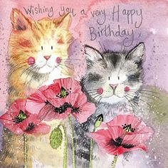 Cats & Poppies Birthday Card