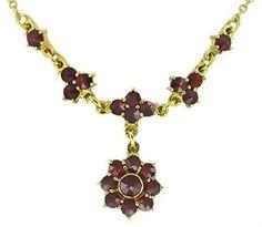 Lovely Victorian Bohemian Garnet Floral Drop Necklace in Sterling Silver Vermeil
