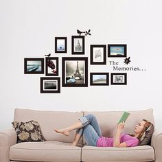 Family Picture Photo Frame Wall Decals Memories Vinyl Wall Stickers Home Decor Art Mural wallpaper 8202 Wall Stickers Wallpaper, Removable Wall Stickers, Wall Stickers Home Decor, Vinyl Wall Stickers, Wall Decal Sticker, Vinyl Art, Family Stickers, Tree Wallpaper, Art Mural