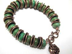 Turquoise Bracelet Copper Southwestern Chunky St. Patricks' Day Jewelry