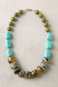 This chunky necklace makes me think summer with the turquoise accents, and wouldn't it be adorable with a fun summer dress?