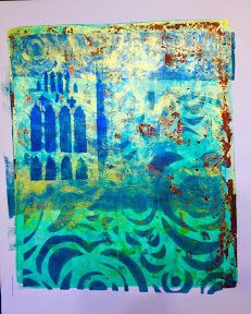 Laurel Englehardt --  This Gelli print started out as testing and I added some plate cleaning to get the bits of red.
