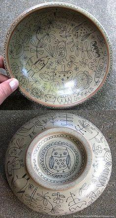 Wooden Doodle Bowl - Flora Chang - Happy Doodle Land: