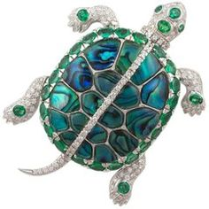 Ella Gafter Emerald and Diamond Gold Turtle Brooch Pin