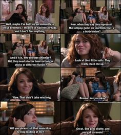 That one tree hill moment when quinn feeds haley and brooke pot brownies lol such a funny scene - Miss that show!!