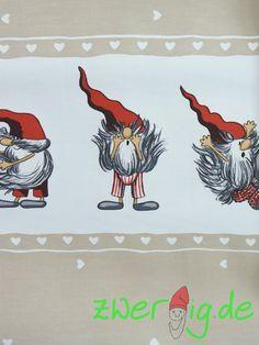 Weihnachtsstoffe - Baumwolle mit Wichtel-Bordüre - Arvidssons - ein Designerstück von zwergigDE bei DaWanda