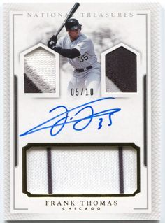 2016 National Treasures Frank Thomas Collection GU 3x Jersey Patch Auto #/10 | eBay
