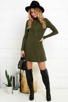 - Casual simple wild high collar knit skirt dress for the trendy woman - Cool casual dress great for any occasion - Available in 2 colors Dress Outfits, Fall Outfits, Casual Dresses, Casual Outfits, Cute Outfits, Fashion Outfits, Fall Dresses, Lulu's Dresses, Long Dresses