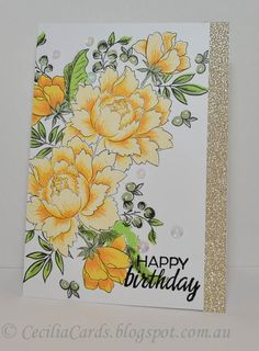 I'm still having fun with the Altenew Peony Bouquet stampset. Here is one with plenty of masking! I made two since I used my MISTI to line u...