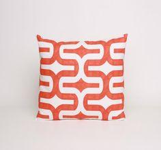 Orange Pillow Cover, Orange Cushion Cover 16 x 16 Pillow Cover in Orange and White Retro Mod Pillow Sham Orange Pillow Sham Tangelo Embrace