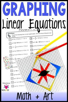 Check out this graphing linear equation activity. Your 8th grade, Algebra 1, and middle school math students will love practicing graphing equations in slope intercept form. Better than any worksheet, this fun product is aligned to the common core standards and will have your students practicing graphing and geometry. Click here for more information. #makesenseofmath #eighthgrademath Algebra Games, Algebra 1, Math Games, Math Lesson Plans, Math Lessons, 9th Grade Math, Teaching Secondary, Graphing Activities, Math Education