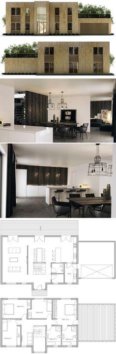 Modern House Plan, New Home Plan, Floor Plan Dream House Plans, Modern House Plans, Small House Plans, Modern House Design, House Floor Plans, Modular Home Plans, Modern Minimalist House, Floor Plan Layout, Planer