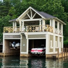 The Boathouse: a new definition to lakefront living! Cabana, Dock House, Boat Garage, Lake Dock, Boat Dock, Water House, Floating House, Lake Cabins, Tiny House Design