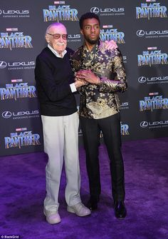 Hospitalized: It comes after Stan was hospitalized last month after suffering shortness of breath and an irregular heartbeat, TMZ reported (pictured January 2018 with Chadwick Boseman) Marvel E Dc, Marvel Actors, Marvel Heroes, Marvel Movies, Marvel Avengers, Marvel Characters, Stan Lee, Black Panther Marvel, Black Panther Party