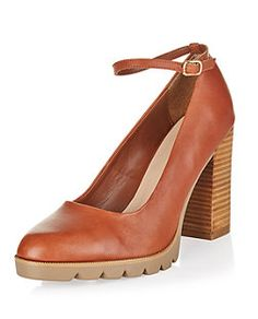 Tan Leather Cleated Sole Ankle Strap Heels | New Look