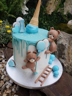 Cakes for children - Детские тортики - first birthday cake-Erster Geburtstagskuchen Boys First Birthday Cake, Baby Birthday Cakes, Baby Boy Cakes, Cakes For Boys, Torta Baby Shower, Gateau Baby Shower Garcon, Teddy Bear Cakes, Drip Cakes, Savoury Cake