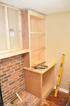 Building Built-In Cabinets and Shelves (Part - One Project Closer (office wall cabinets built in bookcase) Fireplace Bookshelves, Fireplace Built Ins, Diy Fireplace, Bookcases, Fireplaces, Diy Design, Design Ikea, Shelf Design, Floating Shelves Bathroom