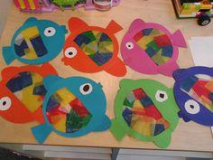 Vis knutselen thema: onder water wereld. Gemaakt van 1 cirkel, 1 ovaal en vliegerpapier.