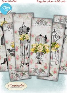 75% OFF SALE Shabby & Sewing - Digital bookmark B004 collage sheet printable download image size digital image fashion collage hang tags KristieArtDesign 1.12 USD