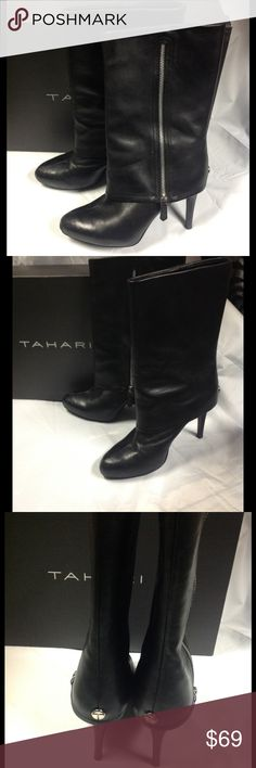"TAHARI Foster style black leather boots heels 8.5 Very good condition. Do not show much wear at all. TAHARI Foster style black lambs leather fold over boots with silver zippers. Heel height is approx. 4"". Boot height approx. 13"" including heel. Boot shaft approx. 14"" in diameter. Shipped in original box. Size 8.5 Tahari Shoes Heeled Boots"