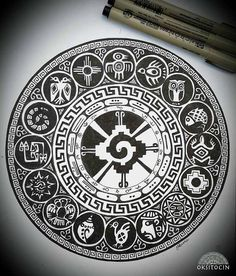 "I love all the powerful Incan and Mayan symbology incorporated into Oksana Stepanova's (OKSITOCIN) pen & ink mandala entitled ""Inca"". Her spectacular use of symmetry and asym… Mandala Tattoo Design, Mandala Arm Tattoo, Aztec Tattoo Designs, Mayan Tattoos, Tribal Tattoos, Indian Tattoos, Female Tattoos, Chicano Tattoos, Maya Art"