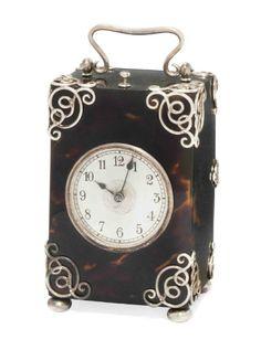 Victorian silver-mounted tortoiseshell boudoir clock by Batson & Son, London, Unusual Clocks, Cool Clocks, Mantel Clocks, Clock Decor, Antique Clocks, Antique Silver, Vintage Clocks, Sistema Solar, Carriage Clocks