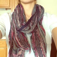 Multicolor scarf This is a multicolor scarf. Perfect for spring. Navy, pink, and gold accent colors. Like new condition! Make me an offer :) Anika dali Accessories Scarves & Wraps