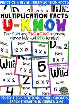 Students love playing this U-Know game for fun REVIEW of multiplication facts or for test prep. It's a perfect activity for any small group or station, and great for early finishers. Multiplication Facts U-Know is a fun learning game played similar to UNO except if you get an answer wrong, you have to draw two! Students will beg to practice multiplication facts in this way and it will help them with their fact fluency! Available in MANY other topics, too!