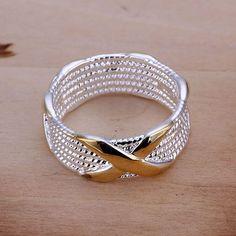 Envío gratis 925 anillo de plata fina moda separación de colores joyería de plata X anillo de Women & Men regalo anillos de dedo SMTR013 en Anillos de Joyería en AliExpress.com   Alibaba Group