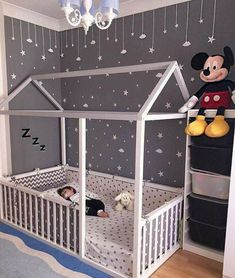 Toddler Floor Bed - perfect for wriggly little ones, so they can't fall out! We love the grey and white colour scheme and constellation of friendly little stars in this room too. Baby Bedroom, Baby Room Decor, Nursery Room, Girls Bedroom, Bedroom Decor, Bedroom Modern, Bedroom Lighting, Bedroom Chandeliers, Baby Room Diy