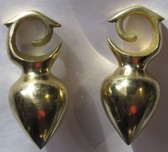 I own these. They're actually ridiculously huge.  Dayak Brass Large Raindrop Spinning Top Ear Weights Zuki Imports