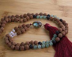 Labadorite Mala necklace, rudraksha beads, 925 sterling silver, Aventurine