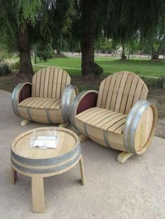 Beautiful barrel benches and table. LOVE!